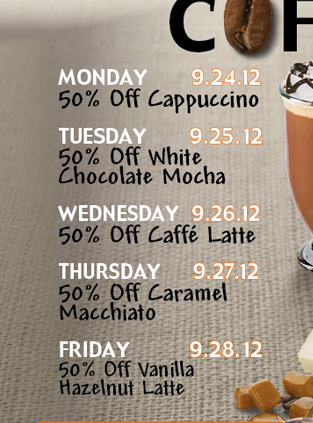 National Coffee Day is 9/29, different offers all week long.